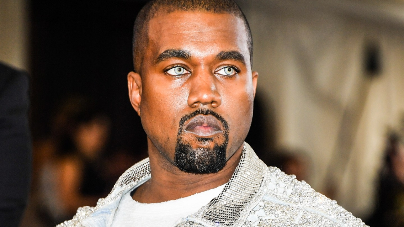 Kanye West wears colored contacts to Met Gala in New York.