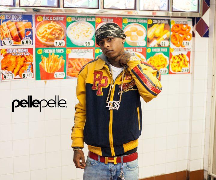 Remy Boy Monty wearing his Pelle Pelle jacket in Paterson, New Jersey.